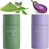 Mascarilla de arcilla limpiadora de té verde + berenjena, hidrata el rostro, control de la grasa, limpieza profunda de los poros, removedor de espinillas, mejora la piel de mujeres y hombres