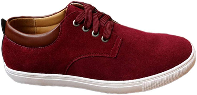 ZHRUI Mnner Segeltuchschuhe Leder Casual Breathable Schuhe Flats (Farbe   Rot, Gre   7=41 EU)
