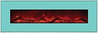 Amantii Advanced Series Wall Mount/Built-In Electric Fireplace with Coastal Blue Steel Surround, 58 Inch (WM-BI-58-6421-COASTALBLUE)