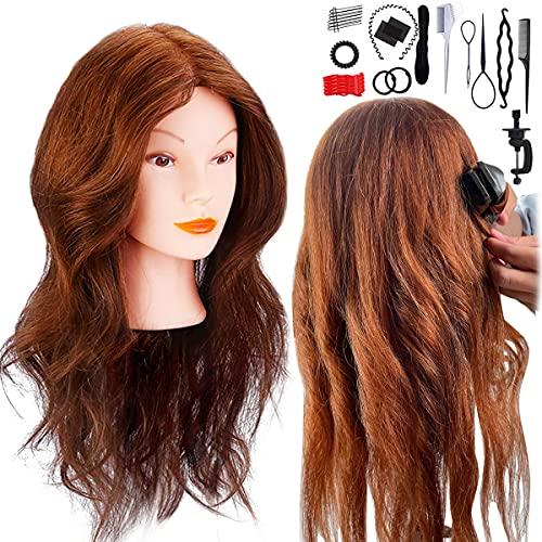 Têtes d'exercice, Missicee 18'' Têtes à Coiffer professionnel 100% Cheveux Naturel Vrai Tête À Coiffer Coiffure avec Support + Ensemble de Tresse