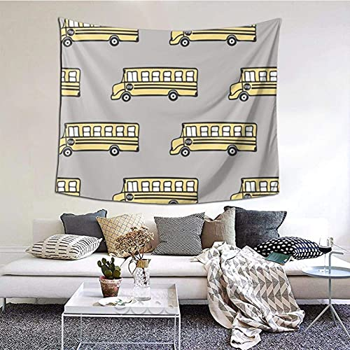 Tapiz para colgar en la pared, amarillo, autobús escolar, manta de pared gris, para sala de estar, dormitorio, decoración del hogar, 152 x 130 cm