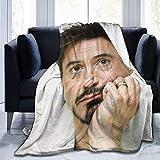 Robert Downey Jr - Coperta in pile ultra morbida e calda, stampa digitale, per bambini/adulti (152,4 x 127 cm)