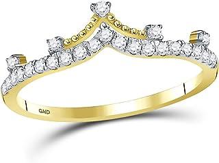 Anello a fascia in oro giallo 10kt con diamante rotondo corona di diamanti 1/5 Cttw per le donne