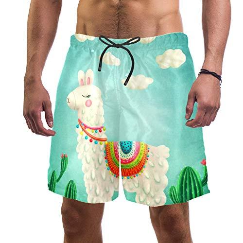 Eslifey Herren Strandshorts Alpaka Kaktus Badehose elastisch Badeanzug Boardshorts für Herren Gr. Verschiedene Größen, multi
