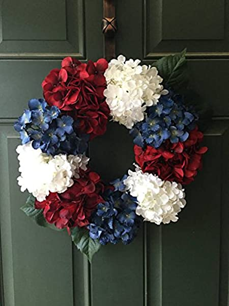 Fourth Of July Hydrangea Wreath15 Red White And Blue Summer Decor Red White And Blue Decoration Primitive America The Beautiful