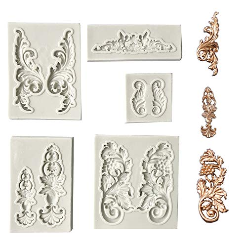 Juland 5 PCS Silikon Kuchen Schimmel Silikonfondant Kuchenform Barockstil Curlicues Scroll Mold für Sugarcraft, Cake Border Decoration, Cupcake Topper, Schmuck, Fimo, Bastelprojekte - Grau