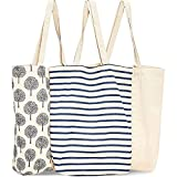 Reusable Tote Bags, Cotton Canvas Cloth for Grocery, Shopping (3 Designs, 15x16.5 inches)