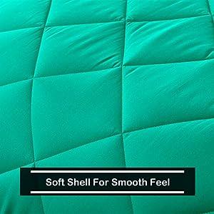 Basic Beyond Down Alternative Mint Leaf/Black Comforter Set King – Reversible Bed Comforter with 2 Pillow Shams for All Seasons