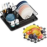 Dish Drying Rack, GSlife Set of Sturdy Dish Rack with Tray for Kitchen Countertop and Fruit Basket Bowl for Vegetable or Bread, Black