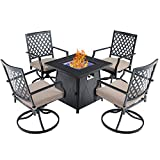 PHI VILLA 28' Gas Fire Pit Table Set,Outdoor Dining Set,50000 BTU Auto-Ignition Propane Gas Fire Pit Table with 4 Swivel Chairs for Patio,Yard,Deck