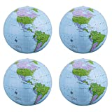 SBYURE 4 Pack 16 Inches Inflatable Globe PVC Earth Blow up World Globe Beach Ball for Beach Playing,Party Bags,Teaching
