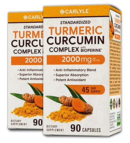 Turmeric Curcumin 2000 mg 180 Capsules | with 95% Standardized Curcuminoids and Bioperine | Pain Relief and Joint Support | Non-GMO, Gluten Free | by Carlyle