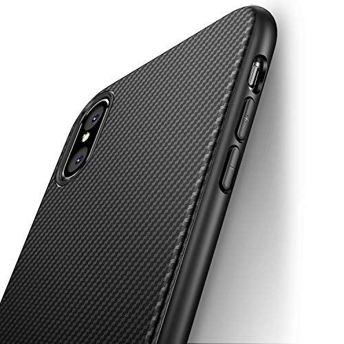 J Jecent Funda iPhone XS Funda iPhone X [Textura Fibra de Carbono] Carcasa Ligera Silicona Suave TPU Gel Bumper Case Cover de Protección Antideslizante [Anti-Rasguño] [ Anti-Golpes] Caso - Negro
