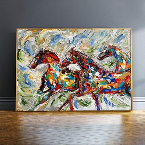 wojinbao Nordic art posterWatercolour Running Horse Oil ng On Canvas Wall Art Poster And Prints Animal Picture For Office Room Decor Cuadros