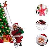 Santa Climbing Ladder Electric Santa Claus Climbing Rope Ladder Decoration, Christmas Super Climbing Santa Plush Doll Toy for Hanging Ornament Tree Indoor Outdoor Decoration