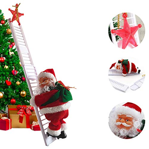 Santa Climbing Ladder Electric Santa Claus Climbing Rope Ladder Decoration, Christmas Super Climbing Santa Plush Doll Toy for Hanging Ornament Tree Indoor Outdoor Decoration