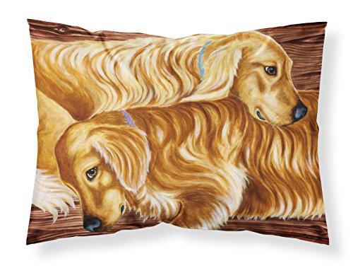 Caroline Tesoros del amb1387pillowcase Zeus y Chloie el Golden Retriever Tela Almohada, estándar, Multicolor