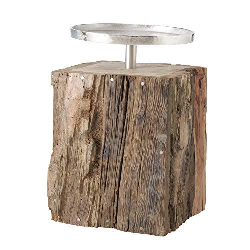 Kerzenleuchter Kerzenhalter Silber Rund aus Recyceltem Holz - Höhe 32 cm