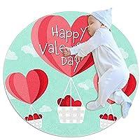 ソフトラウンドエリアラグ 70x70cm/27.6x27.6IN 滑り止めフロアサークルマット吸収性メモリースポンジスタンディングマット,バレンタイン用のハート型熱気球