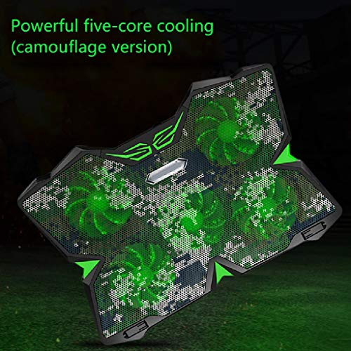 BORE 12-17 Inches Gaming Laptop Cooler Cooling Pad   5 Quiet Fans   1400RPM Strong Wind Designed For Gamers And Office (Color : Camouflage)