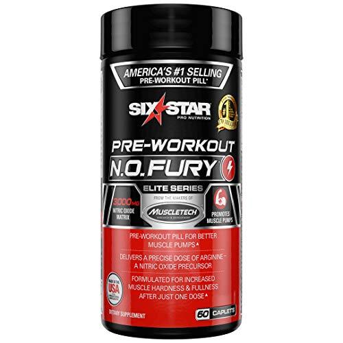 Six Star Elite Series N.O. Fury Pre Workout Pills, Nitric Oxide & L-Arginine Booster, 60 Count