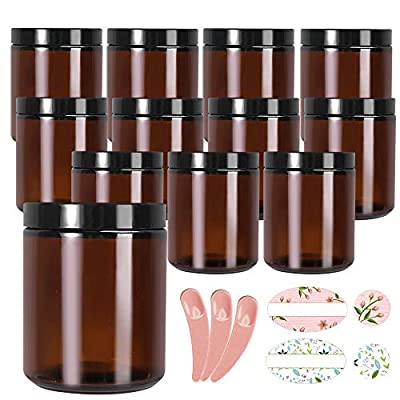 12 Pack 8 oz Amber Glass Jars with Black Lids,Glass Candle Jars Round Jars for Cosmetics and Face cream Lotion. from STARSIDE