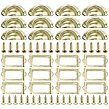 Vintage Etiquetas Titular, DBAILY 24pcs Tiradores para Puertas de Armario Tiradores de Metal Manillas Marcos Decorativos para Muebles Cajones Habitación Cocina Baño Archivador Estante