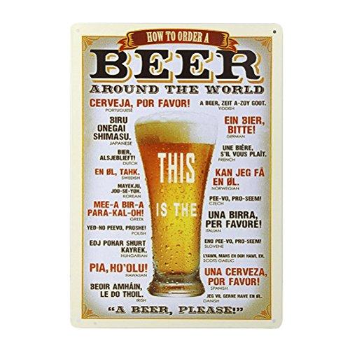 ROSENICE Birra Poster Targa in Metallo da Appendere Vintage Quadro Decorazione Murali da Parete