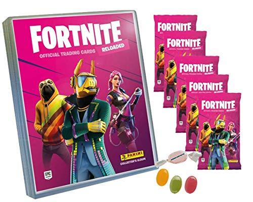 Serie 2 Fortneite 2 Trading Cards Reloaded (2020) - 1x Leere Sammelmappe + 5 Booster zusätzlich erhalten Sie 1 x Fruchtmix Sticker-und-co Bonbon
