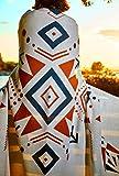 Luxury Aztec Boho Throw Blanket - 100% Organic Cotton - Southwestern Native Farmhouse Style Multifunctional Use it for Home Decor, Bedroom, Couch, Camping, Shawl, falsa Handmade Fringes, Soft & Cozy