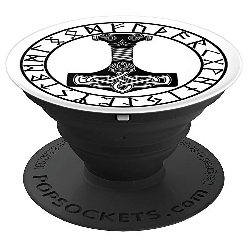 Thor Hammer Mjolnir in Circle of Norse Runes PopSockets Grip and Stand for Phones and Tablets