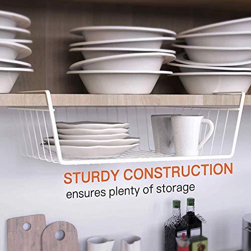 Under Shelf Basket, Pantry Organization and Storage Anti Rust White Wire Storage Basket for Pantry Cabinet Closet Desk Bookshelf Cupboard, 4 Pack