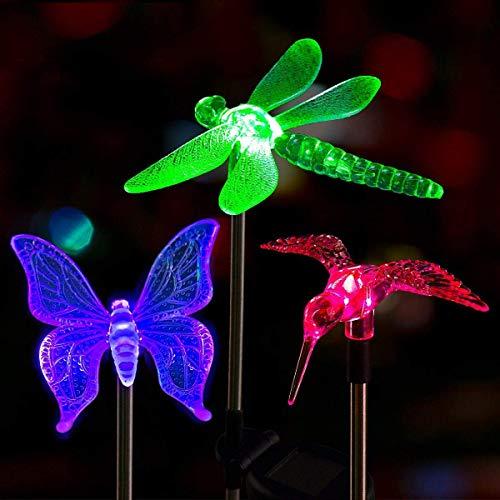 Solpex Solar Garden Stake Lights,3 Pack Bird Decorative Light, Solar Garden Lights, Multi-Color Changing LED Solar Landscape Decorative Lights for Patio, Garden, Pathway, Lawn