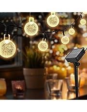 Lichtsnoeren voor buiten, 50 LED Solar Lichtsnoer Buiten, solar tuinverlichting 8 modi, IP65 waterdicht lichtketting buiten, Decoratieve verlichting voor Buiten tuin, bomen, terras, Warm wit