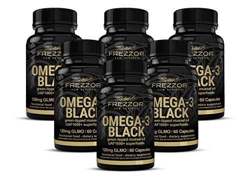 FREZZOR Omega 3 Black, Green Lipped Mussel Oil New Zealand,  UAF1000+, Joint Pain Relief and Inflammation Supplement, Heart and Immune Support, No Fishy Aftertaste, 450mg, 6 Pack, 360 Count