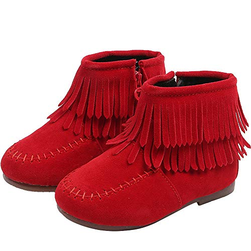 Shan-S Infant Kids Toddler Baby Girls Boys Winter Suede Leather Fringe Tassel Boots Snow Boots Shoes