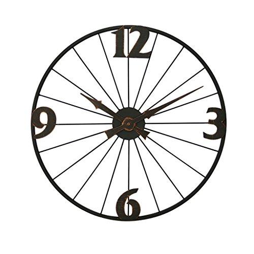 JLRQY Orologi Da Parete Silent Iron Art Vintage Circolare Ruota Per Bicicletta Orologio Superficie Da Parete Decorazione Creatività Soggiorno Orologio Per Bar Coffee Shop 20 Pollici,B,20Inch(51Cm)