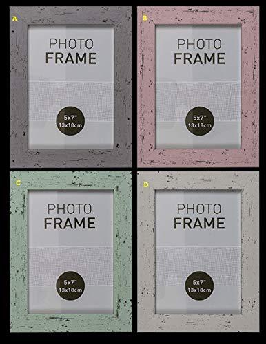 Pastelkleurige fotolijst in houtlook, model A, 13 x 18 cm, van kunststof