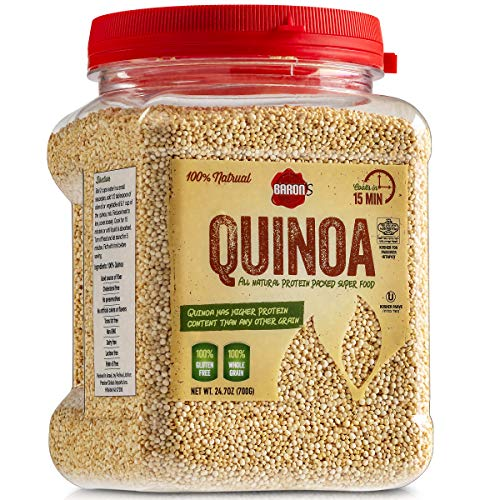 Baron's Whole Grain Gluten Free Quinoa Bulk 1.5 LB Jar | 100% All Natural Raw Brown Superfood Seeds Cook in 15 Minutes! | Kosher for Passover (Kitniyot), Non GMO, High Protein, Fiber & Iron | 24.7oz