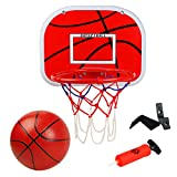 Basketballkorb fürs Zimmer Mini Basketball Kinder Sport Outdoor Indoor Basketballkorb Spielzeug mit Bälle Pump für Kinder Junge Mädchen ab 6 7 8 Jahre alt (MEHRWEG)