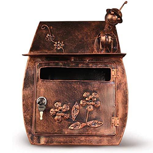 ZHIRCEKE Buzón Europea Mailbox clásico Retro de la Pared Pastoral Impermeable con el Bloqueo del buzón de Correo buzón de Correos al...