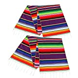 Fowecelt 2 Pack Mexican Serape Table Runner 14 x 84 Inch for Mexican Party Wedding Decorations Outdoor Picnics Dining Table, Fringe Cotton Handwoven Table Runners