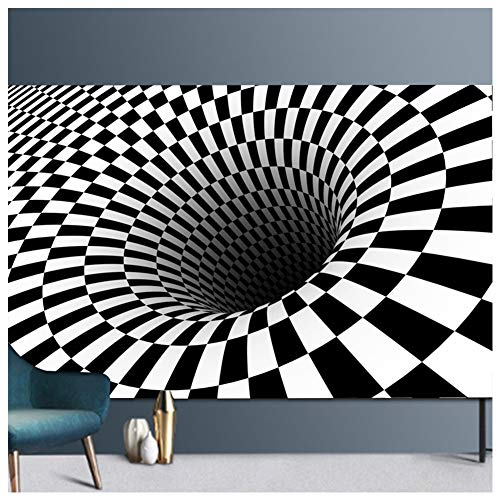 Tapis Vortex Illusion,Tapis de Sol Antidérapant Noir Blanc Grille Illusion Vortex 3D Tapis Salon Chambre,Géométrique Optique Tapis Moquette de Vision Stéréo Tapis Maison Décoratif,Moderne 12 100x200CM
