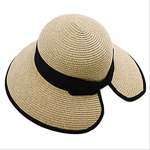 Lsthnm Sombrero De Paja De ala Ancha para Mujer Sombreros para El Sol Sombrero De Verano Plegable Enrollable Floppy Sombreros De Playa para Acampar En La Playa Pesca Senderismo