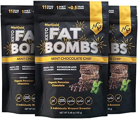 MariGold Keto Fat Bombs Mint Chocolate Chip Low Carb Collagen Rich Grass fed Ghee Organic Cocoa product image