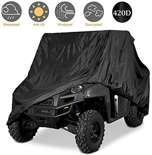 Waterproof UTV Cover,Heavy Duty Oxford Cloth for Polaris RZR Yamaha Can-Am Defender Kawasaki Ranger Cover 2-4 Passenger Black Protects 4 Wheeler Integrated Trailer System,115' x 60' x 75'