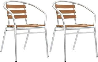vidaXL 2X Sillas Jardín Apilables Aluminio y WPC Muebles Salón Porche Asientos Mobiliario de Exterior Terraza Patio Porche Piscina Casa Hogar Plateado
