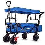 AUKAR Heavy Duty Collapsible Folding Wagon Utility Outdoor Garden Cart with 7