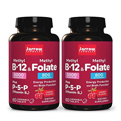 Jarrow Formulas Methyl B-12 & Methyl Folate - 60 Chewable Tablets, Cherry - Pack of 2 - Bioactive Vitamin B12 & B9 - Supports Energy Production, Brain Function & Metabolism - 120 Total Servings