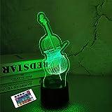 Regalos de luz nocturna 3D para violoncello, lámpara de ilusión 3D con control remoto con 16 colores cambiantes para decoración de instrumentos musicales, Navidad, día de San Valentín